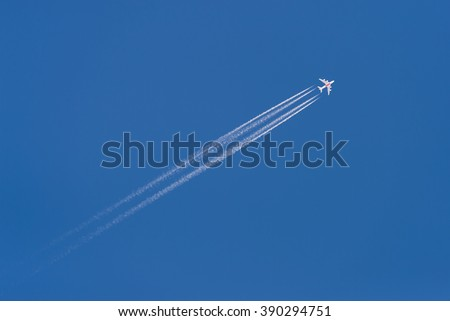 Sky & plane in blue sky. Aircraft flying in sky. View of blue sky. Plane in sky. Blue sky postcard. Blue sky. Clear sky. Amazing sky. Incredible sky. Sky view. Sky image. Daily sky. Sky pic bright sky - stock photo