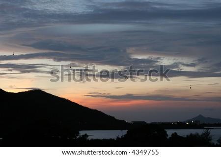 Sky-rail above Lantau Island in Hong Kong, China - stock photo