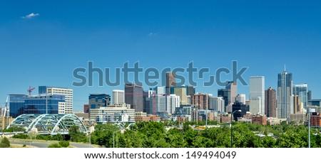 Sky scrapers of the Denver skyline - stock photo