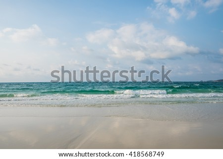 Sky, sea, sand and waves for background - stock photo