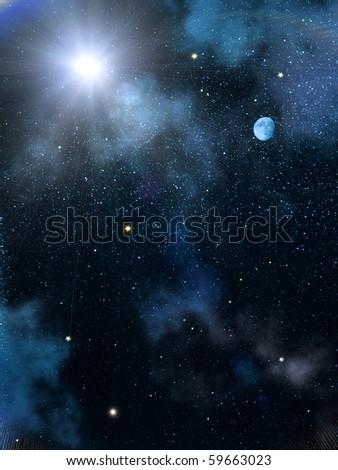 Sky  sun  stars - stock photo
