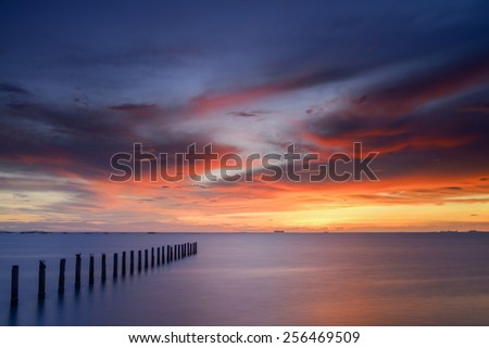Sky sunset tropical and remarkable in the evening. - stock photo