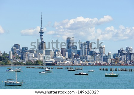 Sky tower in a sunny day, North Island, New Zealand - stock photo