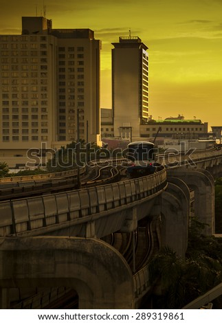 Sky train moving to alive in platform  - stock photo
