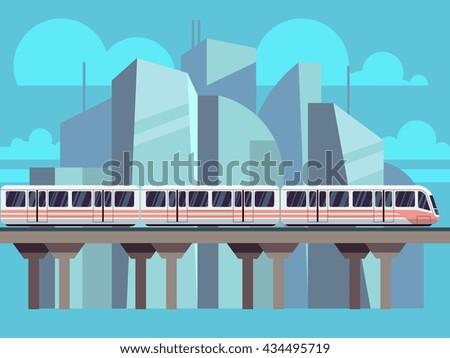 Sky Train, Subway Landscape Flat Concept - stock photo