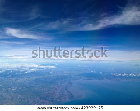 sky view from airplane, sky of krabi, sky of thailand, sky view, sky photo, sky and cloud, sky backgrounds, sky. - stock photo