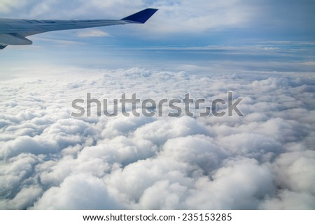 sky view from an airplane - stock photo