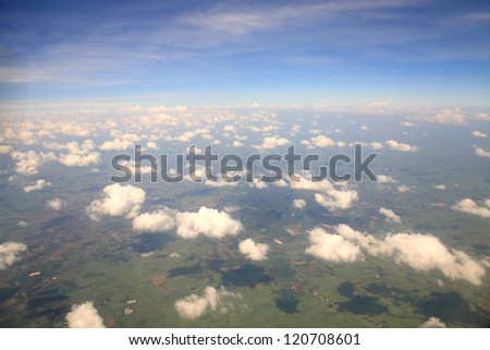sky view of cloudscape and earth - stock photo