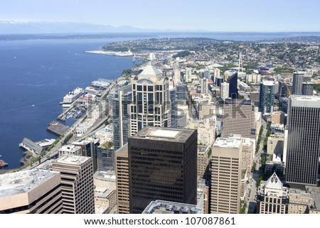Sky-view-Seattle from the Columbia Center tower, 73rd floor. - stock photo