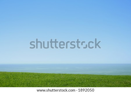 sky water land - stock photo