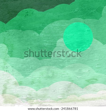 sky with clouds and moon on wood grain texture - stock photo