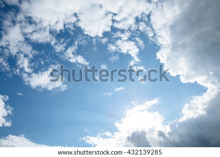 sky with clouds and sunrays - stock photo
