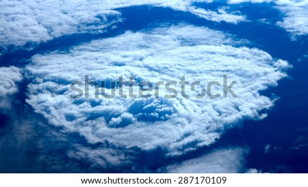 sky with clouds at a height in the air - stock photo