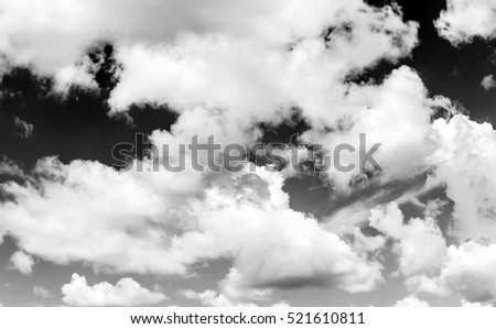 sky with clouds, black and white photo
