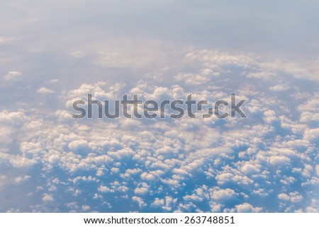 sky with clouds from plane for background - stock photo