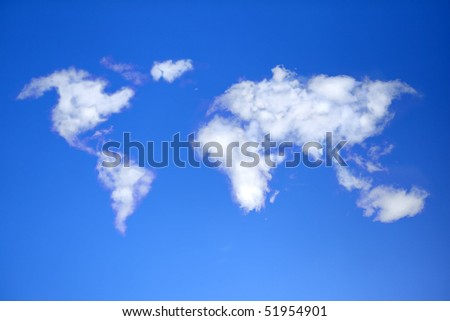 Sky with clouds in shape of world map. - stock photo