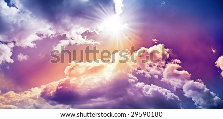 sky with colorful dramatic clouds - stock photo