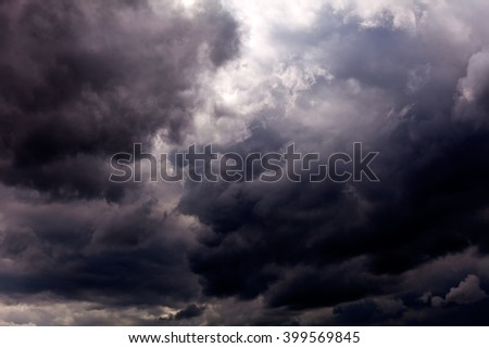 Sky with dark grey clouds before rain - stock photo