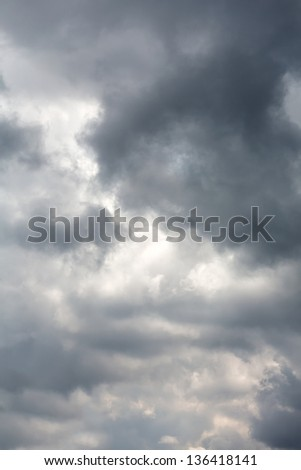 Sky with dark storm rain clouds - stock photo