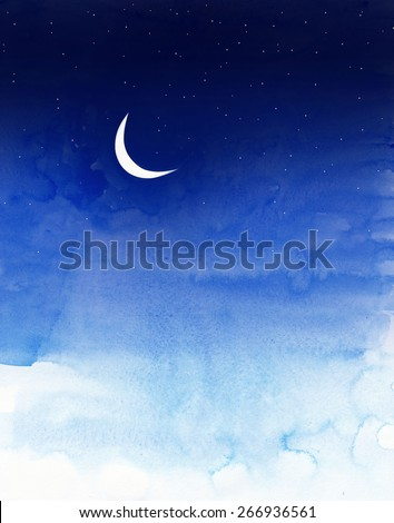 sky with moon and stars painted in water colors  - stock photo