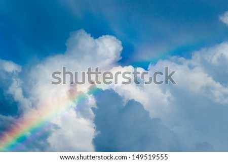 Sky with Real Rainbow and clouds Background - stock photo