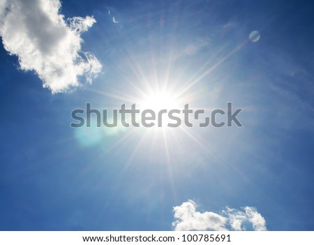 sky with sun - stock photo