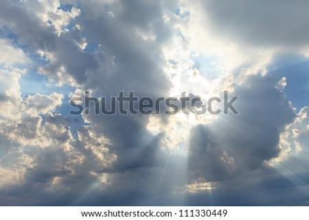 sky with sun - stock photo