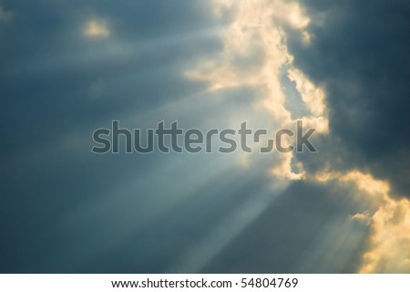 Sky with sun shine through the cloud and sun beam - stock photo