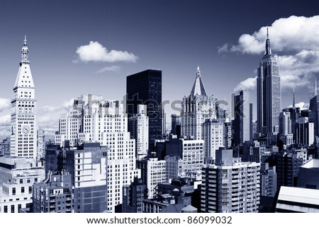 skycrapers and towers in amazing manhattan skyline view