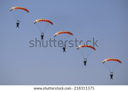 Skydiver coming in to land - stock photo