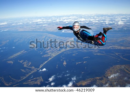 Skydiver falls through the air