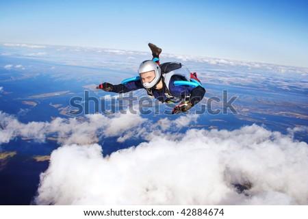 Skydiver. Parachuting is fun! - stock photo