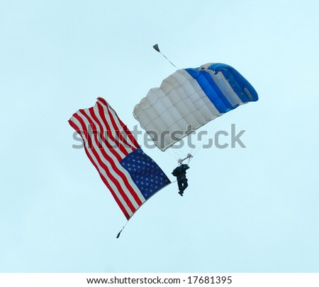 Skydiver with usa flag - Arctic Thunder airshow 2008 - Anchorage - Alaska - USA