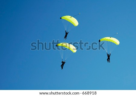 Skydivers particepate in an international competition.