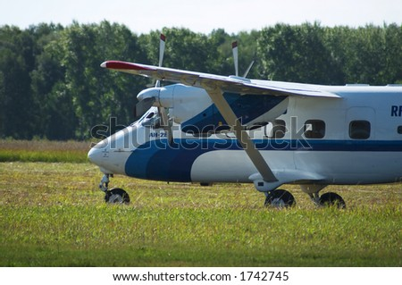 Skydivers plane AN-28 (Antonov) in airshow