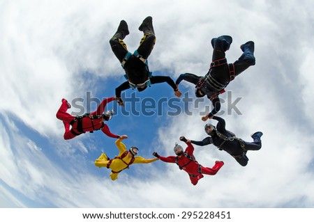 Skydiving group formation star - stock photo
