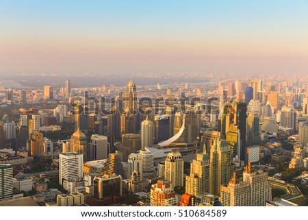 Skyline aerial view Bangkok central business downtown, Thailand
