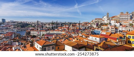 Skyline and cityscape of the city of Porto in Portugal, with a view over the historical districts classified as World Heritage by UNESCO, the Douro River and the city of Gaia. - stock photo