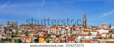 Skyline and cityscape of the city of Porto in Portugal, with a view over the iconic Clerigos Tower and the historical districts classified as World Heritage by UNESCO. - stock photo