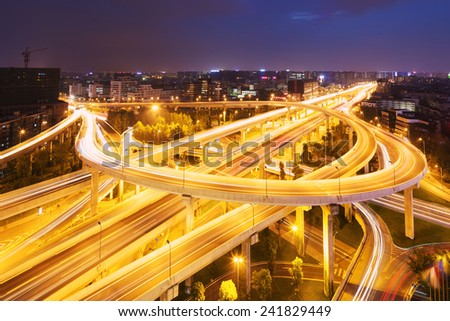 skyline and traffic,flyover in modern city. - stock photo