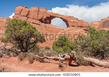 Skyline Arch in Arches National Park, Utah, USA - stock photo
