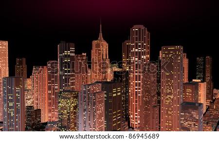skyline at night - stock photo