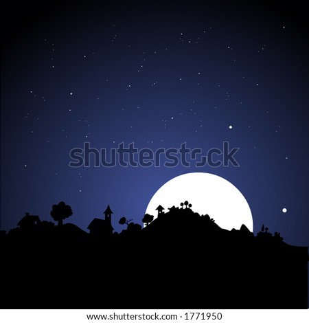 Skyline at night with moon.