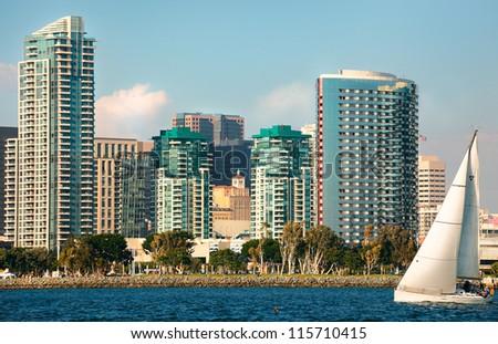 Skyline Cityscape of Downtown City of San Diego, California from Coronado Island - stock photo