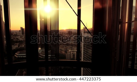 skyline cityscape panorama of modern high rise skyscraper buildings. financial business district background  - stock photo