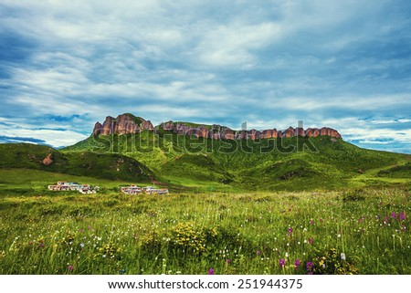 skyline,cloudscape and meadow in tibet highland. - stock photo