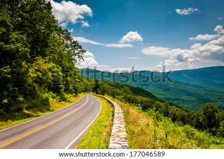 Skyline Drive and view of the Blue Ridge Mountains, in Shenandoah National Park, Virginia. - stock photo
