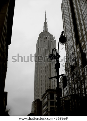 Skyline Empire State  in tritone  color ,this is the tallest building in New York and 3rd in USA. - stock photo