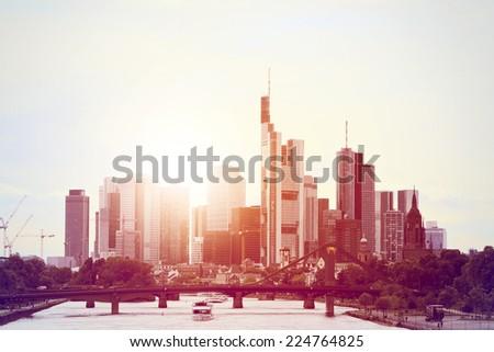 Skyline Frankfurt Evening sun Germany - stock photo