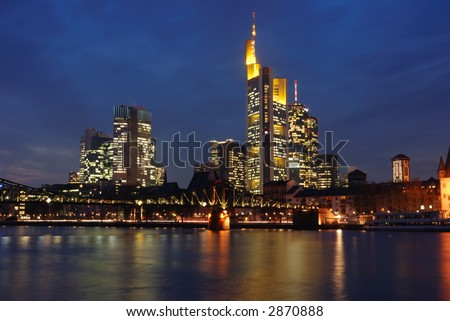 skyline frankfurt financial district, germany